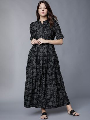 Picture of Women Black Printed Maxi Dress